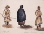 Jeune garçon de la première nation de Lorette près de Québec (à gauche), et membres de la première nation Tsonnontouan (Sénécas) (à droite) . vers 1838-1842