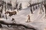 Chasse à l'orignal et cerfs. 1842
