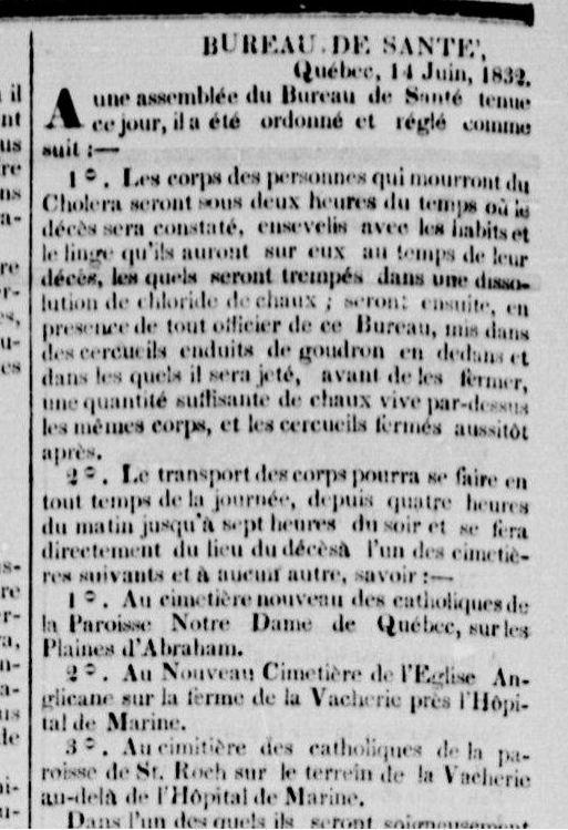 Des mesures particulières doivent être prises avec les cadavres. Extrait du Canadien, p.2, 18 juin 1832