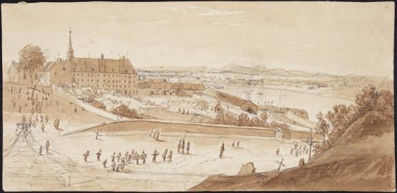 L'Hôtel-Dieu, Québec.  vers 1822-1832 par James Pattison Cockburn. Crédit: Bibliothèque et Archives Canada, no d'acc R9266-97 Collection de Canadiana Peter Winkworth