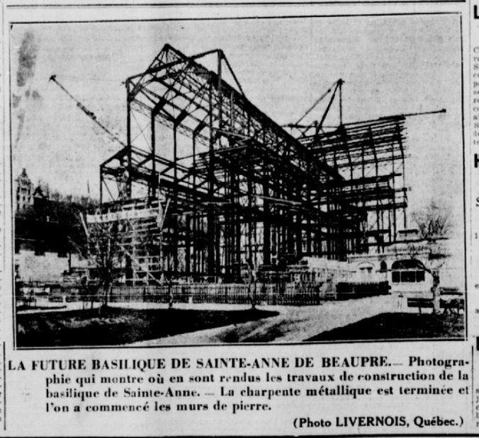 Reconstruction de la basilique. L'Action catholique, 13 mai 1925.