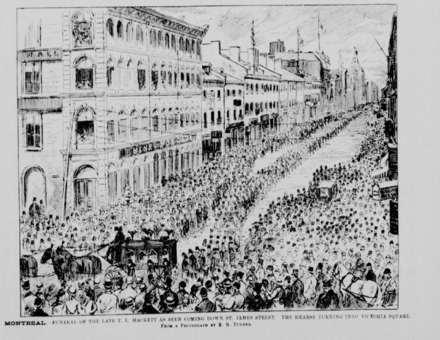 Procession funéraire lors de l'enterrement de T. L. Hackett. Canadien illustrated news, 28 juillet 1877